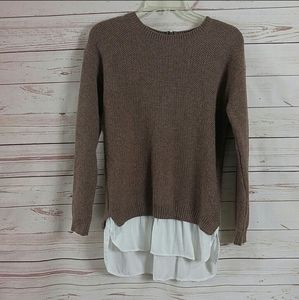 Mystree Layered Knit Long Sleeve Pullover Sweater